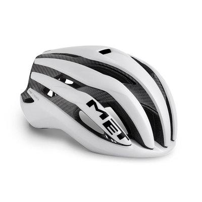 MET Trenta 3K carbon wit racefiets helm - slechts 215 gram! - kan ook met verlichting