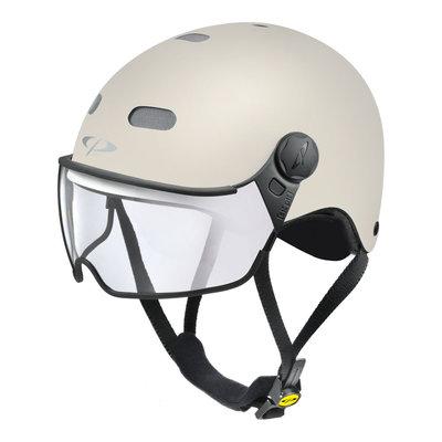 CP Carachillo E-bike helm creme - trendy fietshelm met vizier voor brildragers ideaal
