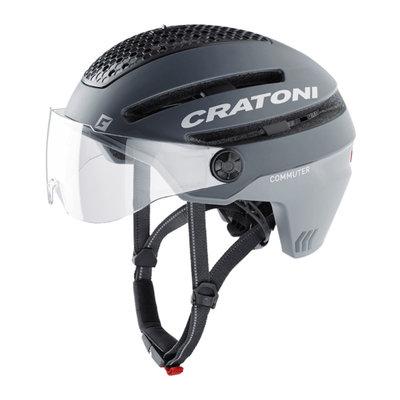 Cratoni Commuter grau mat - S Pedelec Helm mit Visier, led licht & Reflectors
