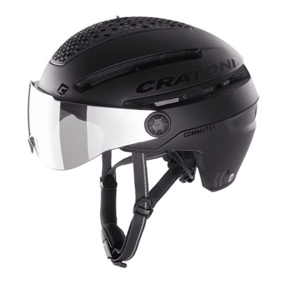 Cratoni Commuter zwart mat - Pedelec Helm mit visier ,led licht & Reflectors
