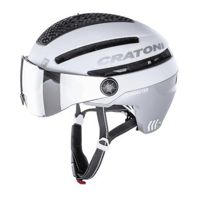 Cratoni Commuter weiss mat - S Pedelec Helm mit Visier, led licht & Reflectors