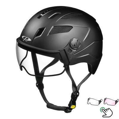 CP Chimayo+ Schwarz - Trendy Pedelec Helm / E-Bike Helm - Visier Wahl - klar oder photochrom