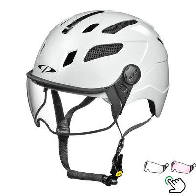 CP Chimayo+ Weiss - Trendy Pedelec Helm / E-Bike Helm - Visier Wahl - klar oder photochrom