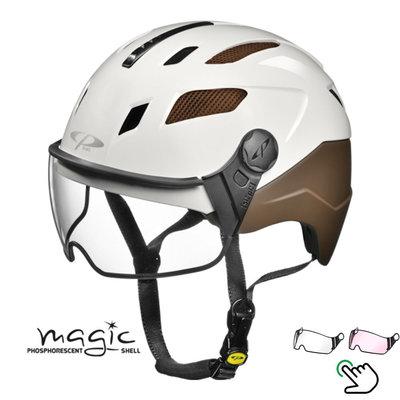 CP Chimayo+ braun-weiß - Pedelec Helm / E-Bike Helm fluoreszierend im Dunkeln! - Wahl Ihr Visier