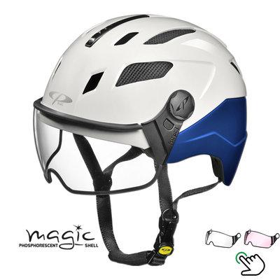 CP Chimayo+ blau-weiß - Pedelec Helm / E-Bike Helm fluoreszierend im Dunkeln! - Wahl Ihr Visier